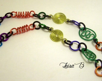 Multicolor Eyeglass Lanyard Necklace Chain Geometric shapes Aluminum Lightweight Fashionable Unique Stylish No. CL5