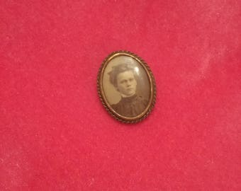 Antique photo brooch