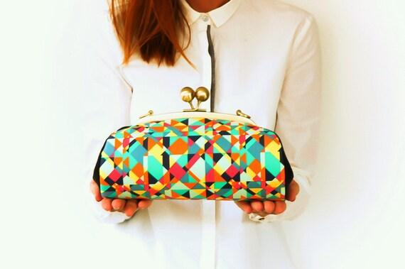 Metal Frame Purse, Geometric Clutch Bag, Kiss Lock Purse with Chain Strap, Modern Handbag, Colorful Triangles, Art Gallery Fabric Clutch