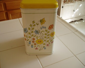 Vintage Yellow and White with Flowers Metal Canister