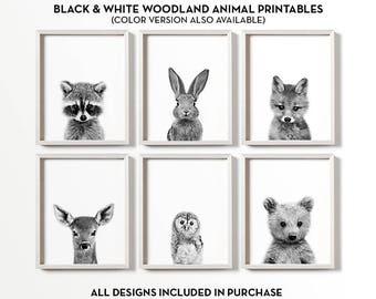 Woodland nursery decor, Black and white nursery art, PRINTABLE art, Baby animal prints, Woodland animals, Nursery wall art, Nursery prints