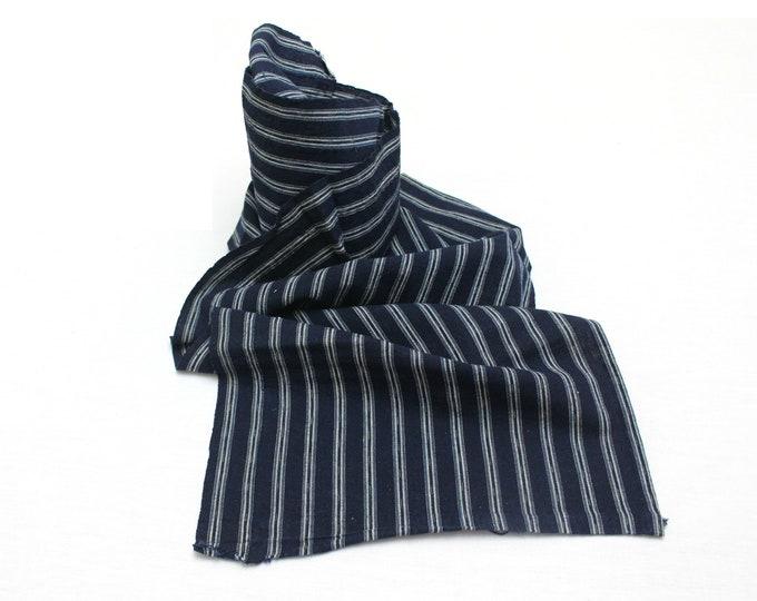 Japanese Kasuri Ikat. Striped Indigo Cotton Fabric. (Ref: 1900)