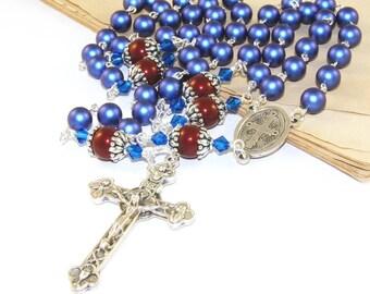 Saint Benedict Rosary, Eucharist Trinity Crucifix, Swarovski Pearls in Blue and Red