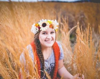 Warm and Colorful Floral Crown with Red Berries and Yellow, Orange, and Ivory Daisies and Flowers