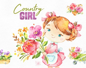 Country Girl. Watercolor floral clipart, flowers, bouquets, farm, household, harvest, thanksgiving,  country, fall, summer, cute, invites