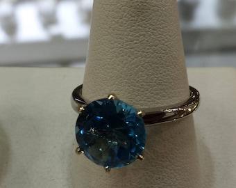 14K White Gold Blue Topaz Ring, Blue Topaz Solitaire Ring, December Birthstone