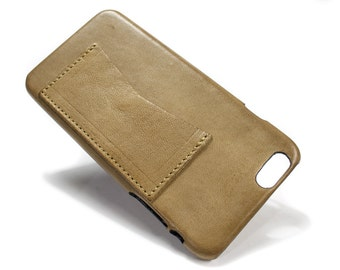 """Iphone 6 Leather Case Washed Leather Aged with credit card holder for 4.7"""" & PLUS 5.5"""" col TAUPE"""