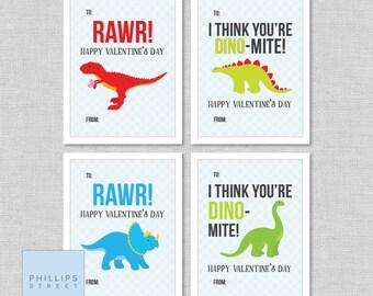 printed DINOSAUR valentine's day cards  .  classroom valentines  .  kids' dinosaur valentines