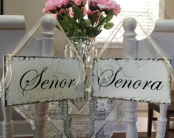 SENOR and SENORA Wedding Chair Signs - Mr. and Mrs. Chair Signs - Bride and Groom Chair Signs - 9 x 5 inches