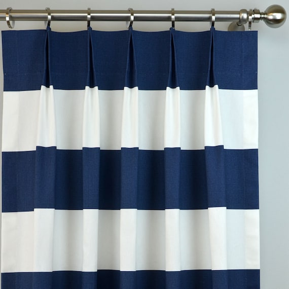 navy blue white cabana modern wide horizontal stripe curtains. Black Bedroom Furniture Sets. Home Design Ideas