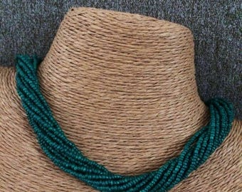 Green beaded necklace, green necklace, multi-strand necklace, green bridesmaids, teal necklace, bridesmaids necklace, twisted necklace