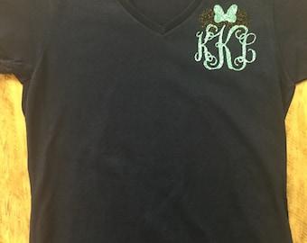 Disney Castle Monogrammed V Neck Womens Shirt, Personalized Disney Vacation Shirt