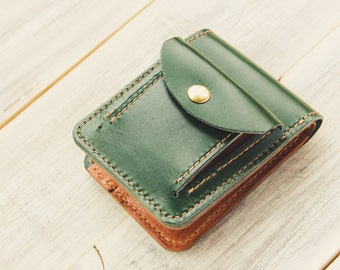 Leather Wallet, Buttero Leather Wallet, Coin Pocket Wallet, Coin Purse, Credit Card Wallet, Bifold, Gifts for him, Vegetable  Leather Wallet