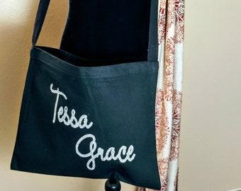 Personalized Canvas Messenger Bag. First Purse. Teen Bag. Teen Gift. Crossbody Purse.