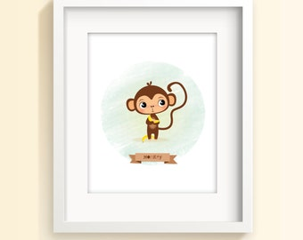 Cute animal art, monkey print, kids illustration, baby nursery decor, children's art, baby prints, new baby gift, kids wall art, nursery art