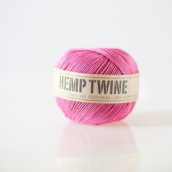Pink Hemp Twine - 1 mm - 430 feet | eco-friendly packaging- string for tags, jewelry & paper crafts |  birthday party decor