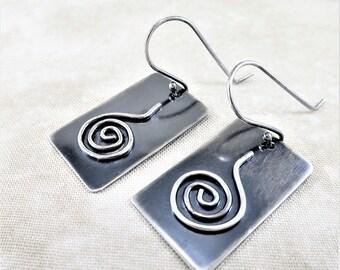 Silver Earrings ~ Geometric Earrings ~ Dangle Earrings ~ Spiral Earrings ~ Black Earrings ~ Minimalist Earrings ~ Rectangular Earrings