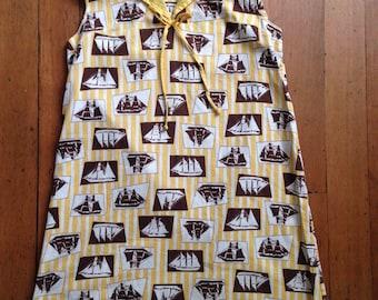 vintage 1960s ship print dress // 60s sailor collar day dress