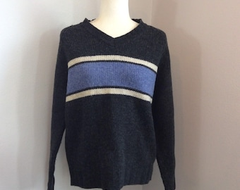 Xhileration Vintage 90s Wool Gray Baby Blue Stripe Sweater Size Small