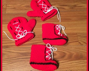 Crochet Baby Boxing Gloves and Booties ONLY