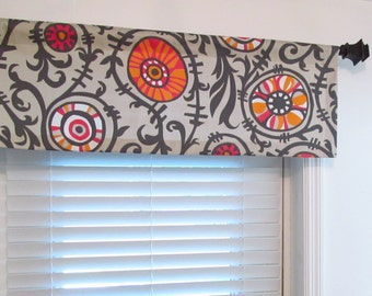 Contemporary  Straight Valance Suzani Vine Twill Sherbet Top Window Treatment   Custom Sizing Available!