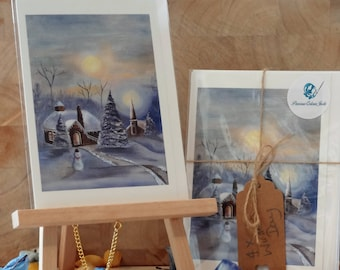 Christmas Cards, Fine Art Print, Acrylic Painting, Winter's Day - pack of 4.