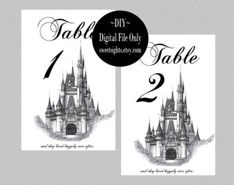Fairytale Wedding Table Numbers Printable, Fairytale Wedding Decor, Wedding Table numbers, Castle Wedding, DIY Wedding Decor, Cinderella