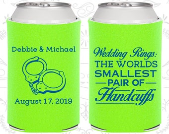 Wedding Rings, The Worlds Smallest Pair of Handcuffs, Personalized Favors, Handcuffs, Wedding Can Coolers (503)