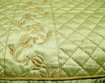 Satin Bedspread Quilted Bedspread Hollywood Regency 1940 Bedspread