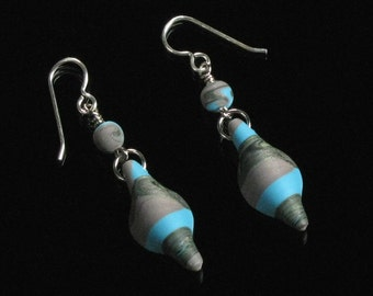Long Tribal Dangle Earrings, Rustic Polymer Clay Jewelry, Turquoise & Brown Lightweight Earrings, Unique Gift for Women, Gift for Girlfriend