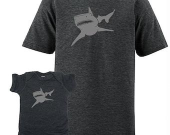 Matching Dad Father Son Shirts, Shark T shirts,  gift, new dad shirt, father daughter, gift for dad, gift for dad from son, baby