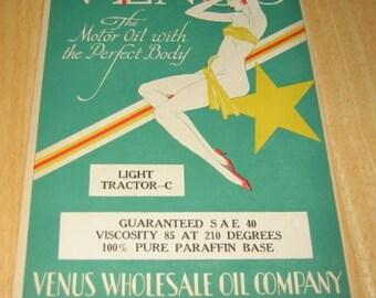 1929 Venus Pinup Gal Gams Legs  Oil Can Label Geneva Nebraska Ad Art