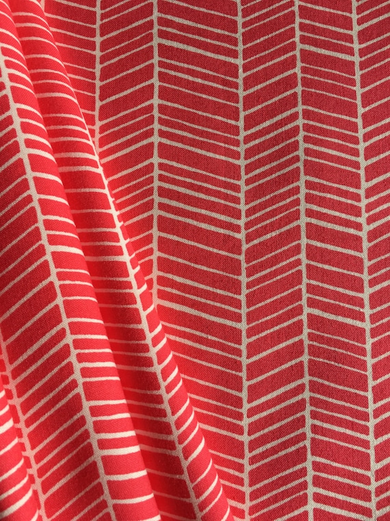 Free Spirit Fabrics Joel Dewberry Flora Herringbone in Poppy PWJD036 1/4 yard to 1/2 yard
