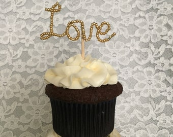 Love cupcake toppers - Set of 6