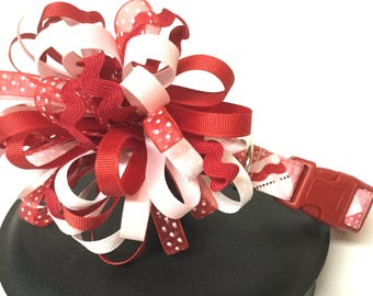 Dog collar, valentine dog collar, heart dog collar, ribbon dog collar, red dog collar, loopy bow collar, adjustable dog collar, pink collar