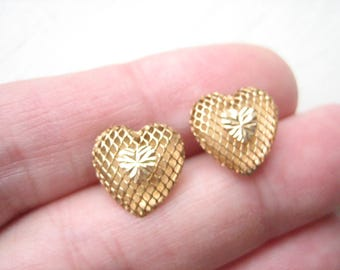 Vintage 10K gold heart studs, 10K gold stud earrings, gold mesh hearts, 10k gold posts, gold heart posts