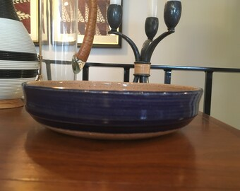 Vintage Mid Century Modern Stoneware Blue Ceramic Studio Pottery Bowl