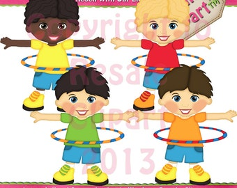 Hoola Hoop Boys Clipart (Digital Download)