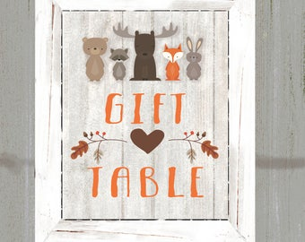 Woodland Animals Gift Table Sign