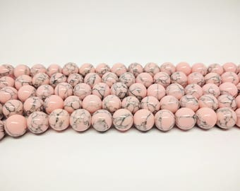 Howlite Beads Pink Beads Bracelet Beads Necklace Beads Jewelry Beads for Jewelry Making Mala Beads Jewelry Supplies Beading Howlite Gemstone