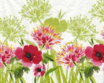 036 beautiful summer flowers pattern 4 X 1 lunch size paper towel