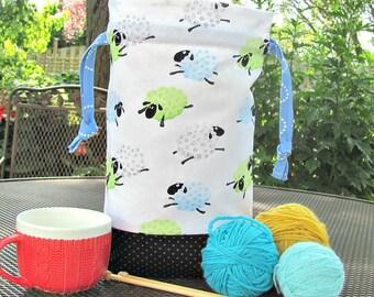 Large Knitting Bag, Project Bag, Drawstring Crochet Bag, Knitter's Gift Tote Bag - Bouncing Sheep Baby Shower Gift or Shawl Knitting Bag