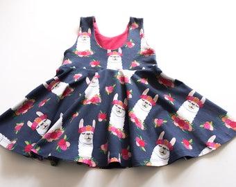 Baby girl llama dress - llama birthday party - toddler llama dress - llama lover - summer baby dress - llama girl dress - girls twirl dress