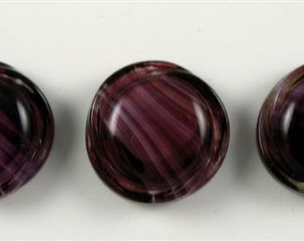 Vintage German Moon Glow Glass Buttons - 3 Purple and White