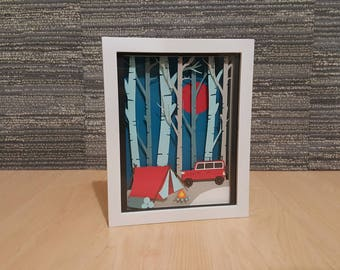 Paper Cut Shadow Box Art / Camping Out In The Woods / Handmade Paper Silhouette Shadowbox / Multi Colored Abstract Art / Tent by fire pit