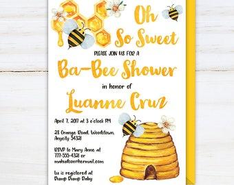 Bee Invitation, Oh So Sweet Ba-Bee Shower Invitation, Bee Shower Invitation, Bumble Bee Honey Bee Sweet Ba-bee Printable Invite
