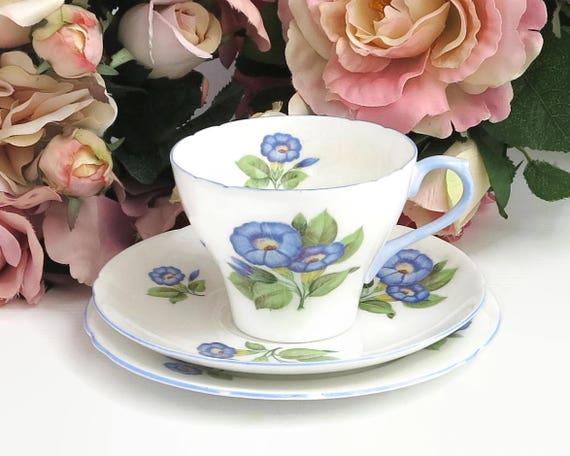 Shelley Morning Glory trio, cup, saucer, and plate, hand painted blue flowers with blue trim on edges, England, 13885, 1945 - 1966