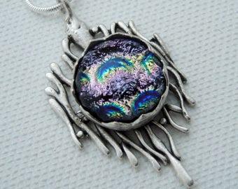 Pink fused glass pendant - antiqued silver  - silver setting - dichoric glass jewelry - fused glass jewelry - boho - OOAK