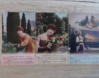 3x Antique vintage Roses of Picardy set of 3 cards Photo hand painted Tinted Postcards Postcard
