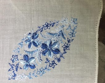ON SALE Hanky Embroidered  Blue Roses  and Buds, Perfect for a Bridesmaid o